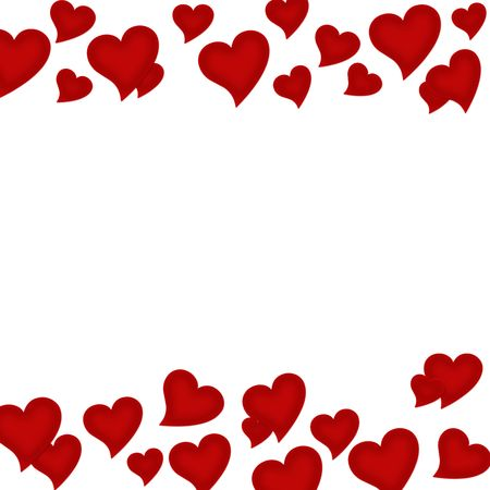 Red hearts on a white background, heart background