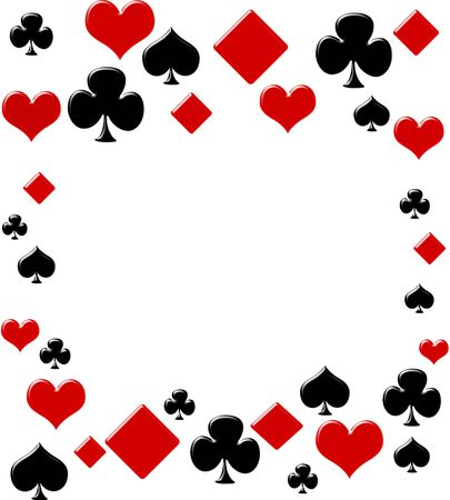 cartas de poker: Cuatro palos de tarjeta haciendo un borde sobre un fondo blanco, fondo de p�quer