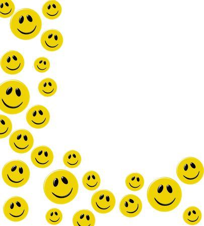 cara sonriente: Lotes de caras sonrientes amarillo sobre un fondo blanco, frontera feliz  Foto de archivo
