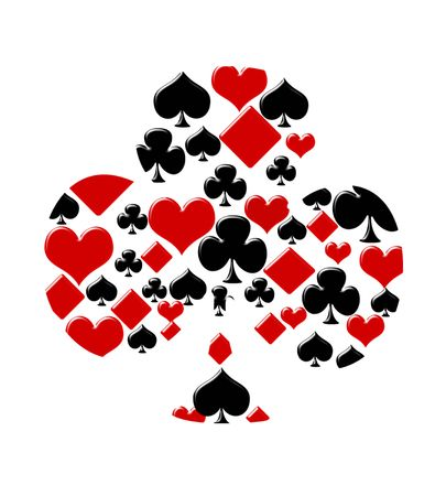 play card: Four card suits making a club on a white background, Playing cards