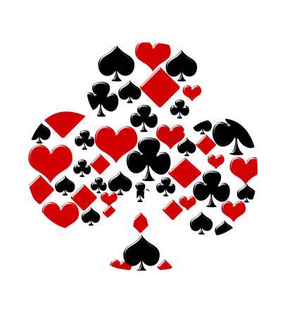 Vier kaart past bij het maken van een club op een witte achtergrond, Playing cards