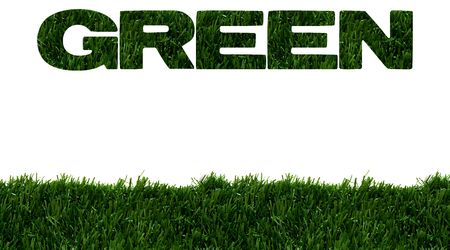 The word green spelled in green grass isolated on white background, Environment friendly Banco de Imagens