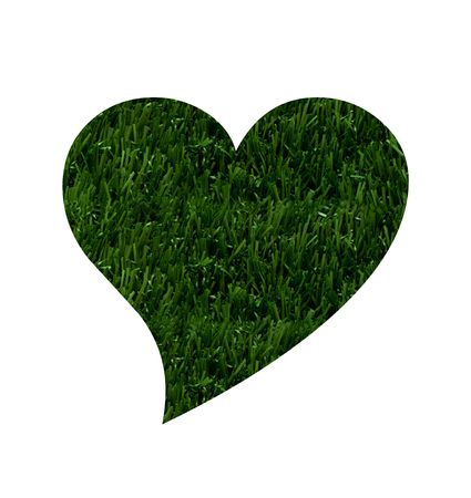 A heart shape in green grass isolated on white background,  Love Going Environmentally Friendly photo