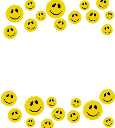 silly face: Lots of yellow smiley faces on a white background, happy border Stock Photo