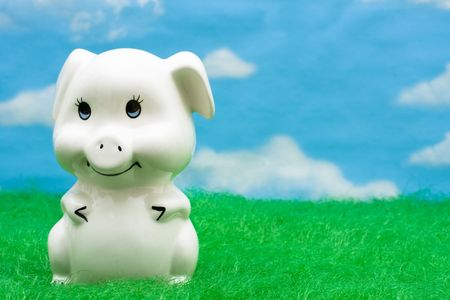 A piggy bank on grass with a sky background, Happy Savings photo