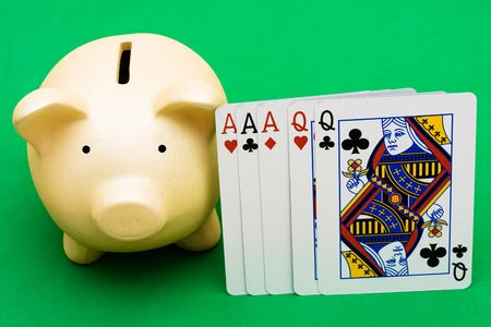 house of cards: Full House cards with a piggy bank on a  green background, playing poker