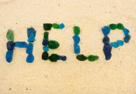 Spiegels van strandglas helpen in het zand, help Stockfoto