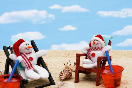 A lounge chair with snowman on a sky background, Relaxing on your winter vacation  photo