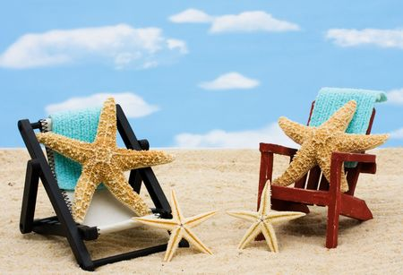 lounge: A lounge chair with starfish on a sky background, Relaxing on Vacation