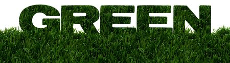 The word green spelled in green grass isolated on white background, Environment friendly Imagens