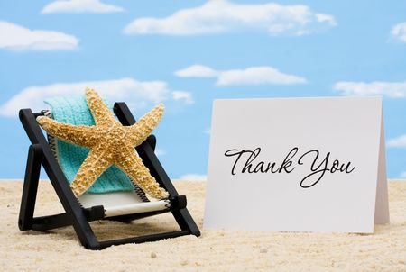 thank you card: A lounge chair with starfish on a sky background, Thankful for Vacation Time