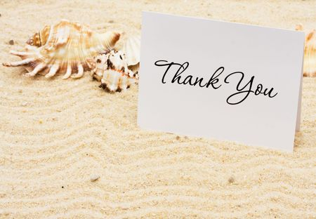 A thank you card with sea shells on a sand background, Thankful for Vacation Time Stock Photo - 6648936