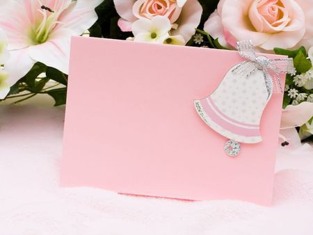 A bouquet of flowers with a bell shaped on a card, wedding flowers Stock Photo - 6648916