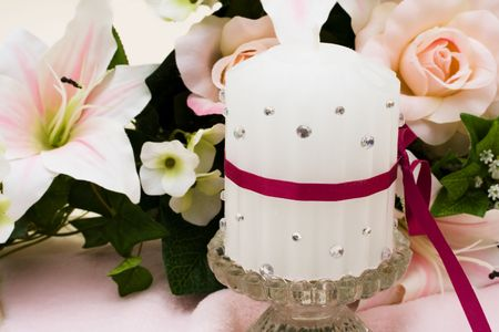 candle holder: A bouquet of flowers with a unity candle, Unity Candle