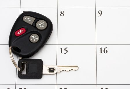 delinquent: A set of car keys on a calendar, Car Payment is due