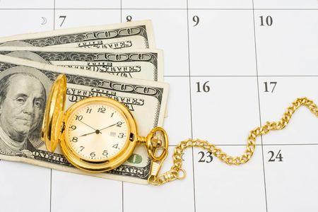 retire: A gold pocket watch with cash on a white calendar background, Time to retire