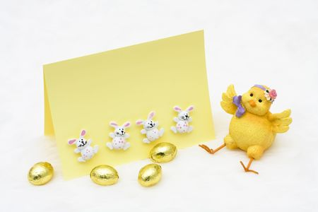 An Easter chick with a blank card on a white background, Easter Time Stock Photo - 6796881