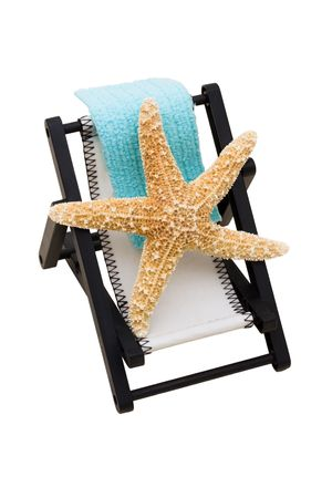 overwhite: A lounge chair with starfish on a white background, Relaxing on Vacation