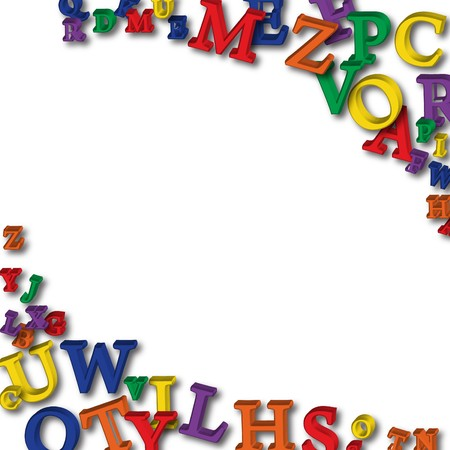 school border: Colourful letters making a border on a white background, alphabet border Stock Photo