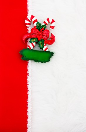 overwhite: A candy cane with a ribbon border on a white background