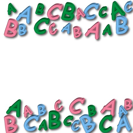 spelling: Colourful letters making a border on a white background, alphabet border Stock Photo