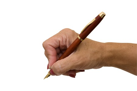overwhite: A hand holding a pen isolated on a white background, writing