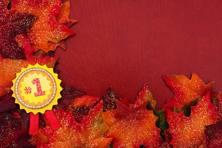 Fall leaves with an award ribbon on a brown background, fall border photo