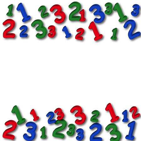subtract: Colourful numbers making a border on a white background, number border