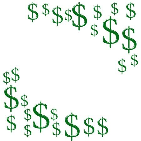 overwhite: Green dollar symbols isolated on white background, making money