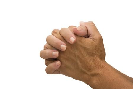 mains pri�re: Deux mains isol�s sur un fond blanc, priant