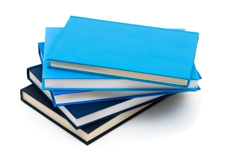 Stack of blue books isolated on white, Books are for learning