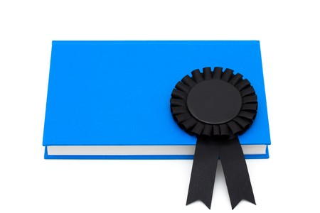 Black ribbon reward on a book isolated on white, Education rewards