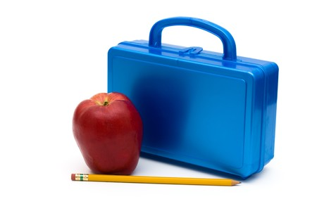 Blue lunchbox with an apple and pencil isolated on white, School Lunches Stock Photo - 7315591