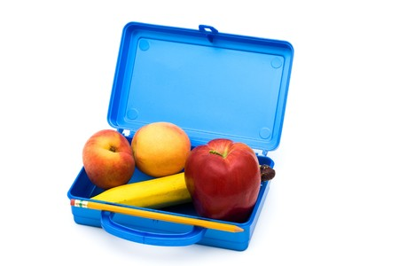Open Lunch box with a bunch of fruit, Healthy School Lunch photo