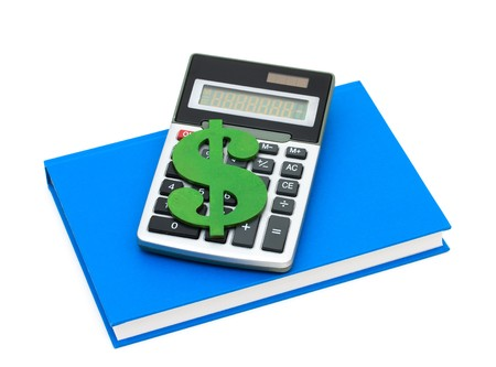 A calculator with a dollar sign on a blue book, Cost of education Stock Photo - 7315604