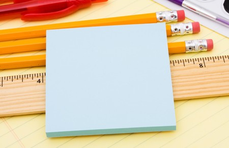 A bunch of school supplies with pens and pencils, back to school Stock Photo
