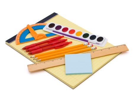 A bunch of school supplies with pens and pencils, back to school photo