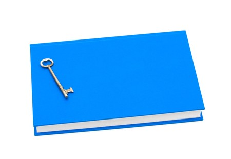Blue book with a retro silver key isolated on white, Education is the key to success photo
