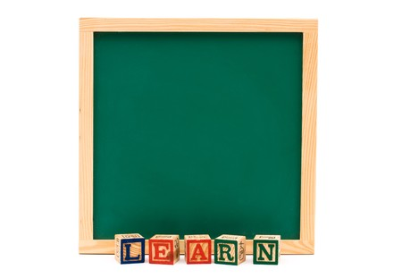 Blank green chalkboard with block letters isolated over white, School Days Stock Photo - 7356267