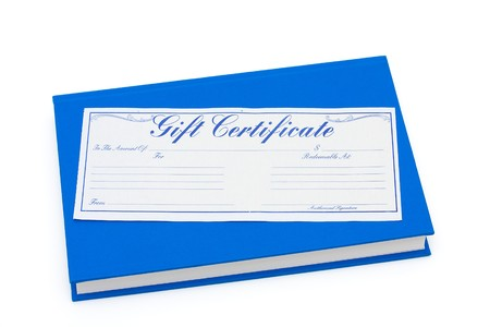 Blue book with a gift certificate isolated on white, Gift of money for education photo