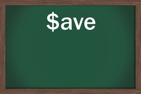 Green chalkboard with word save and lots of copy space, Sale Days Stock Photo - 7356308