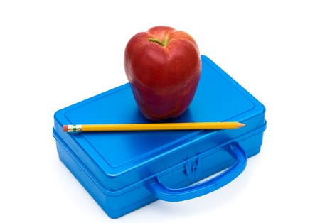 Blue lunchbox with an apple and pencil isolated on white, School Lunches Stock Photo
