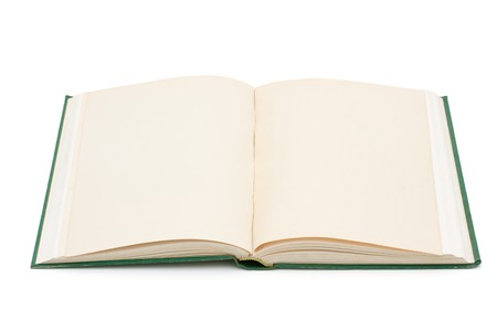 An open book with blank pages isolated on white, Learning Stock Photo