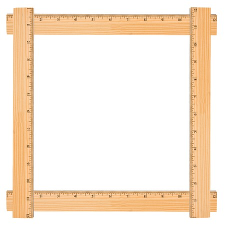 A wooden rulers making a border on it isolated on a white background, Ruler Border photo