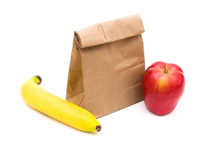 brown paper bags: Brown Paper Bag Lunch isolated on a white background, healthy lunch