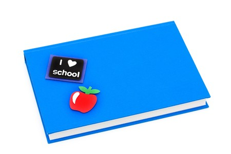A book with an apple symbol on a white background, school work
