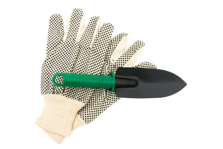 overwhite: A pair of gardening gloves isolated on a white background, gardening gloves
