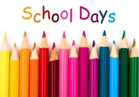 pastelky: Colorful pencil crayons on a white background, School Days