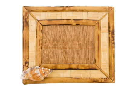 A wooden picture frame isolated on a white background, picture frame photo