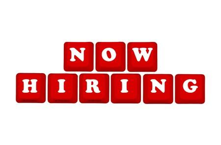 or now: Computer keyboard keys displaying now hiring, Now hiring